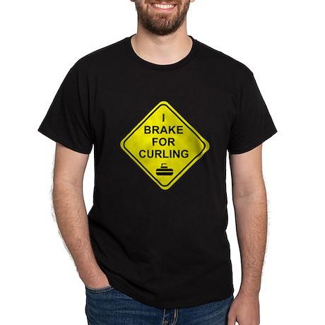 I Brake for Curling, Dark T-Shirt