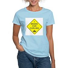 I Brake for Curling, Women's Pink T-Shirt