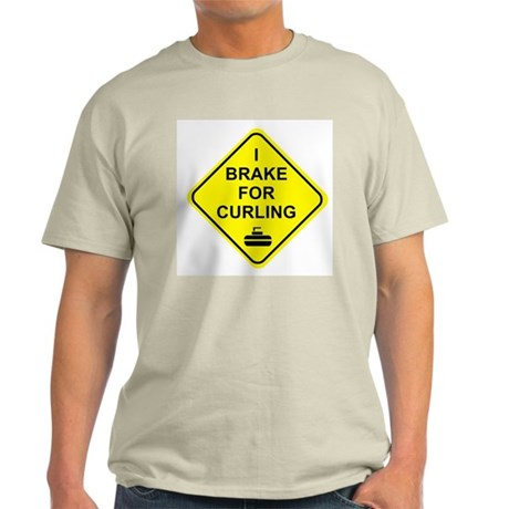 I Brake for Curling, Ash Grey T-Shirt