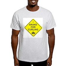 I Brake for Curling, Ash Grey T-Shirt