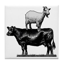Goat on cow-1 Tile Coaster