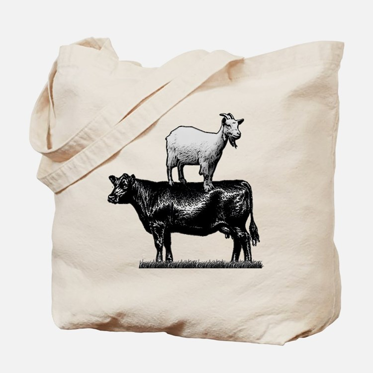 Goat on cow-1 Tote Bag