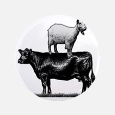 """Goat on cow-1 3.5"""" Button"""