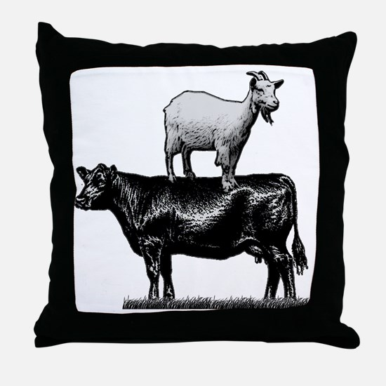 Goat on cow-1 Throw Pillow
