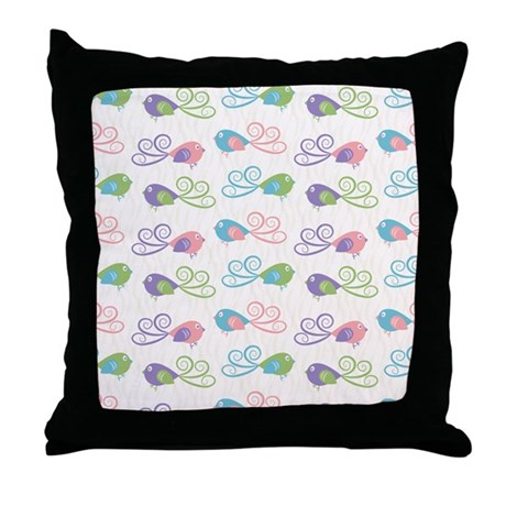 Bird Pattern Throw Pillow : Pastel Bird Pattern Throw Pillow by listing-store-1053336