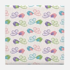 Pastel Bird Pattern Tile Coaster