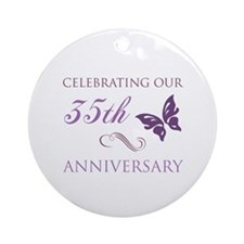 35th Wedding Aniversary (Butterfly) Ornament (Roun