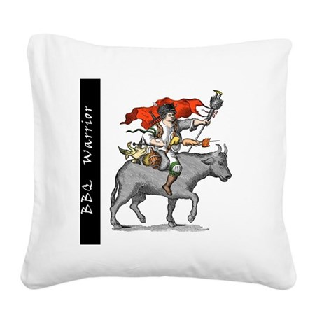 BBQ WarriorReverse - Reduced Square Canvas Pillow