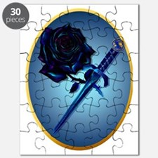 Black Rose and Dagger Oval Trans Puzzle