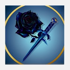 The Black Rose and Dagger-Circle Tile Coaster