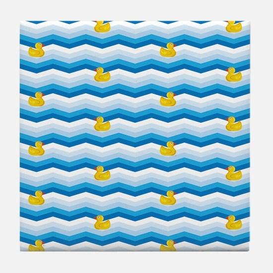 Duck Duck Duck Pattern Tile Coaster