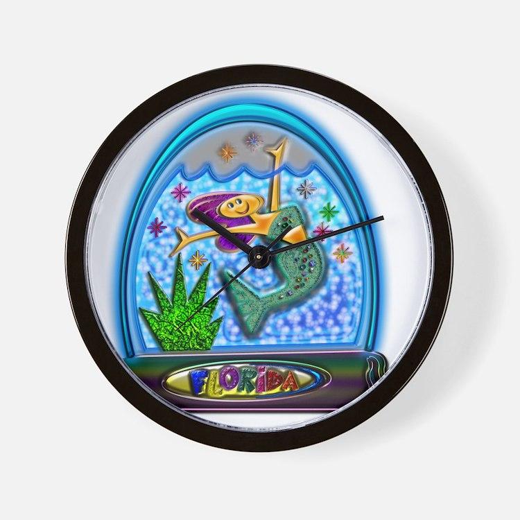 Mermaid in Florida Globe Clear Backgrou Wall Clock