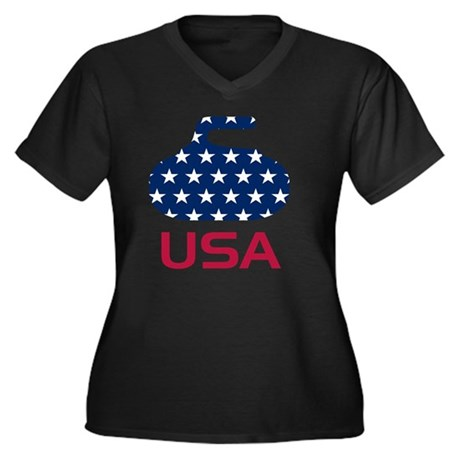 curlingUSA Women's Plus Size Dark V-Neck T-Shirt