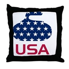 curlingUSA Throw Pillow