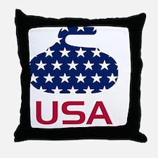 curlingUSA Throw Pillow
