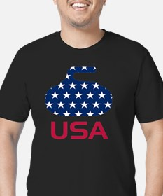 curlingUSA Men's Fitted T-Shirt (dark)