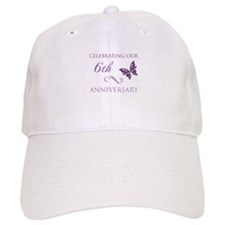 6th Wedding Aniversary (Butterfly) Baseball Cap