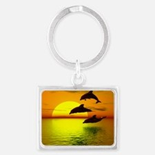 dolphins-sunset Landscape Keychain