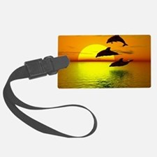 dolphins-sunset Luggage Tag
