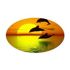 dolphins-sunset Oval Car Magnet