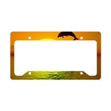 dolphins-sunset License Plate Holder