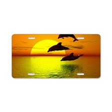 dolphins-sunset Aluminum License Plate