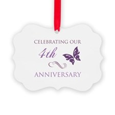 4th Wedding Aniversary (Butterfly) Ornament