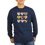 9 Lite Hearts Long Sleeve Dark T-Shirt