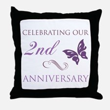 2nd Wedding Aniversary (Butterfly) Throw Pillow