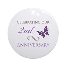 2nd Wedding Aniversary (Butterfly) Ornament (Round