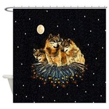 Golden Wolves Shower Curtain