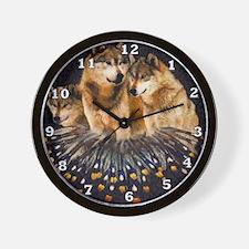 Golden Wolves Wall Clock