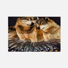 Golden Wolves Rectangle Magnet