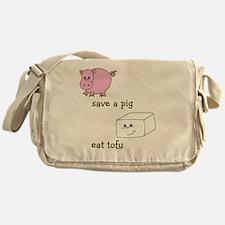 2-save a pig eat tofu Messenger Bag