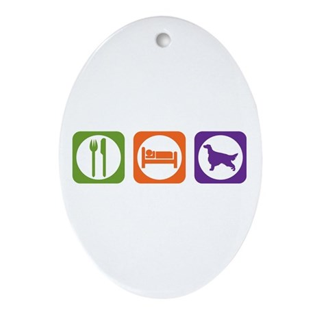 Eat Sleep Setter Oval Ornament