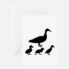 duck ducklings mom love Greeting Cards