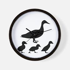 duck ducklings mom love Wall Clock