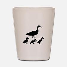 duck ducklings mom love Shot Glass