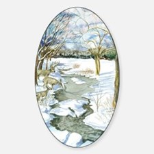 Winter Stream 14x10 Sticker (Oval)