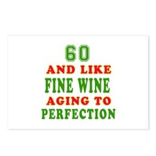 Funny 60 And Like Fine Wine Birthday Postcards (Pa