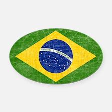 vintage-brazil-flag Oval Car Magnet