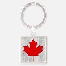 Vintage Canada Flag Square Keychain