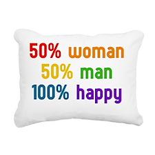 50% woman - 50% man Rectangular Canvas Pillow