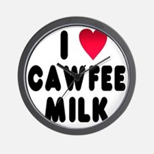blk_luv_cawfee_milk Wall Clock