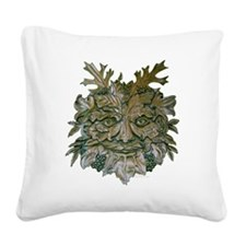 Greenman Carving Square Canvas Pillow