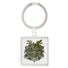 Greenman Carving Square Keychain