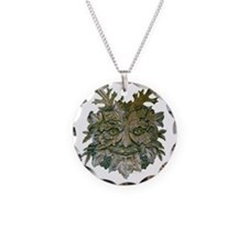 Greenman Carving Necklace Circle Charm