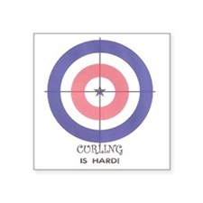 """curling is hard Square Sticker 3"""" x 3"""""""