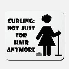 CurlingForHairWhiteTee Mousepad