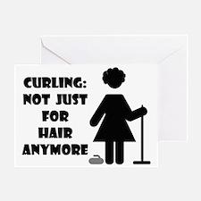 CurlingForHairWhiteTee Greeting Card